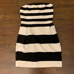 Express strapless striped dress
